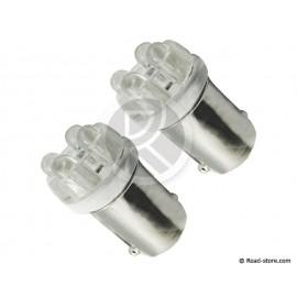 Bulb 4 LEDS BA9S 24V White X2