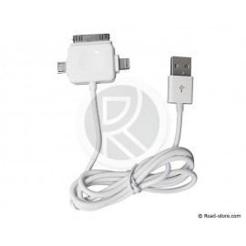 CABLE CONNEXION 3 EN 1 USB VERS MICRO USB/LIGHTNING/30PIN DOCK 2A 5V