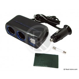 Double cigare lighter 12/24V + 2 USB Ports Blue LED Quick Charge 2100mA MAX 80W