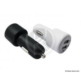 PRISE USB DOUBLE 12/24V 5V CHARGE RAPIDE 2100mA NOIR OU BLANC