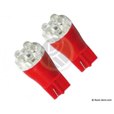 Bulb 4 LEDS WEDGE BASE T10 12V Red X2