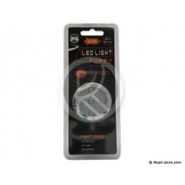 SUPPORT POPPY LUMINEUX ADHESIF 5 LEDS ROUGE 12/24V