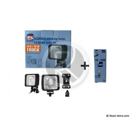 PROJECTEUR SPOT HALOGENE 24V 70W 9,5 X 10,5CM (AMPOULE H3 INCLUSE)