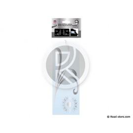 STICKER VITRES LATERALES MOTIF ROSEAUX 32CM x2 ARGENT