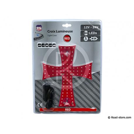 CROIX LUMINEUSE 20 X 25CM 84 LEDS 12/24V ROUGE