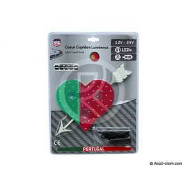 COEUR LUMINEUX PAYS 23 X 25CM 61 LEDS 12/24V PORTUGAL