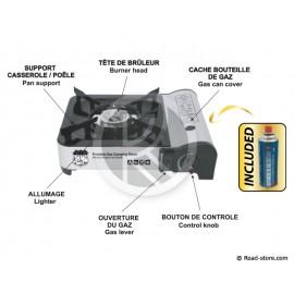 RECHAUD GAZ BUTANE PORTABLE PREMIUM EN ALUMINIUM 1 CARTOUCHE INCLUSE