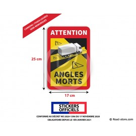 AUTOCOLLANT ANGLES MORTS OFFICIEL POUR CAMION / PL / SEMI