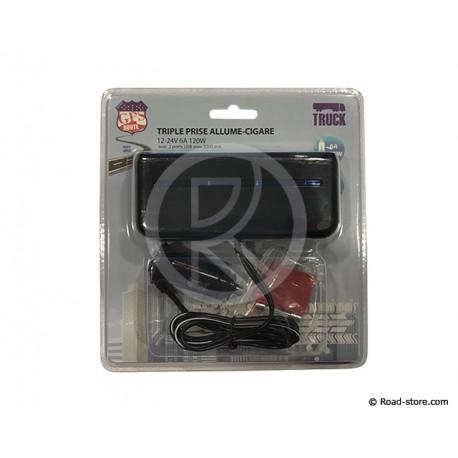 TRIPLE AC 12/24V 6A 120W + 2 PORTS USB 3000mA LED BLEUE