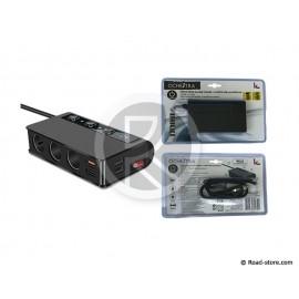 TRIPLE AC 12/24V 10A 180W + 4 PORTS USB 6000mA AVEC INTERRUPTEUR
